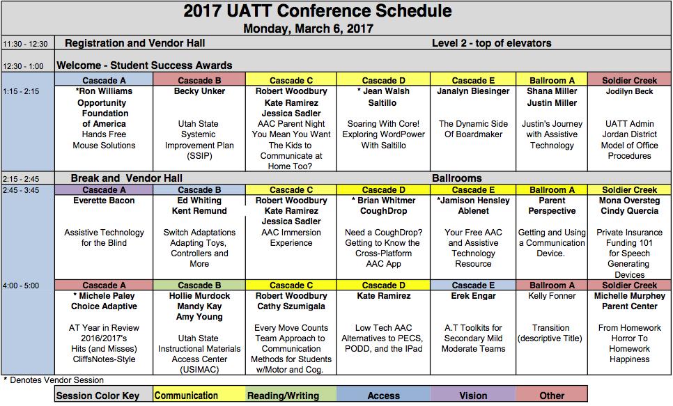 UATT Conference speaker grid for Monday