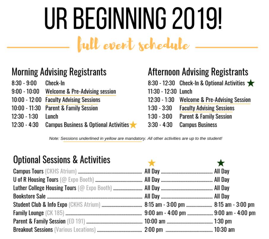 UR Beginning Schedule