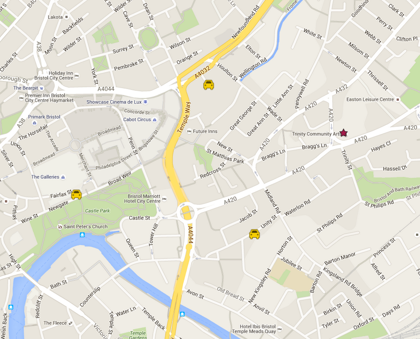Map to Trinity Centre and nearby parking