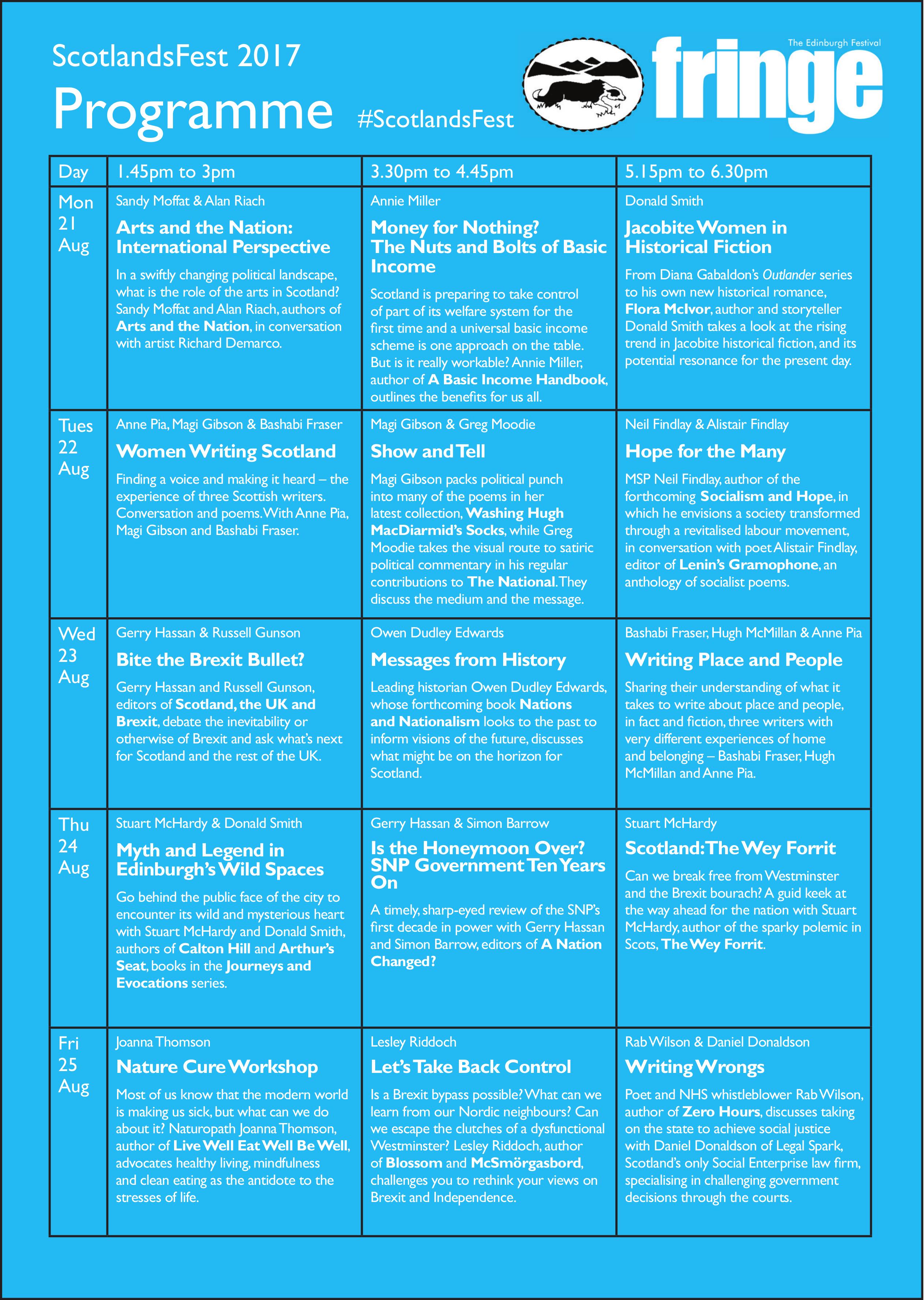 ScotlandsFest 2017 Programme
