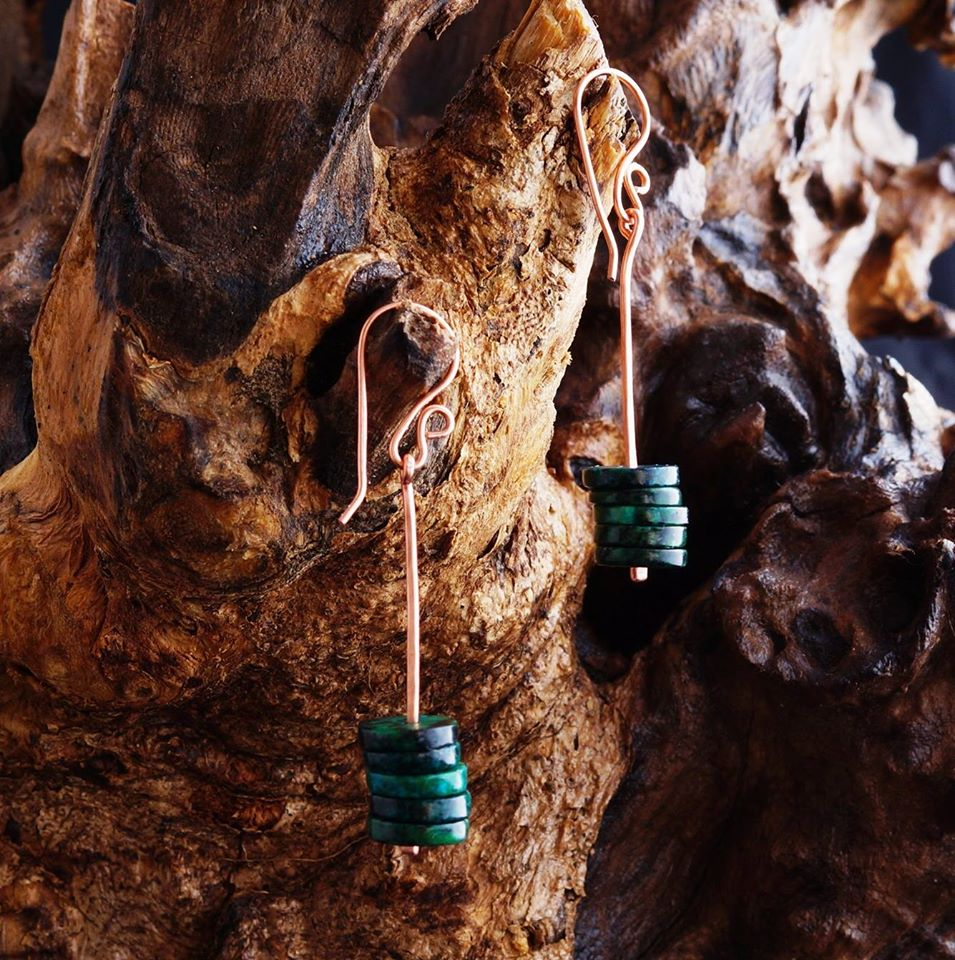 Chrysocolla Copper Earrings