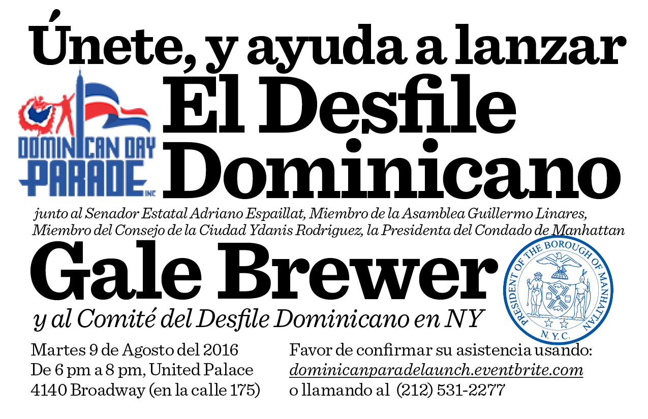 Help Launch the Dominican Day Parade Flyer