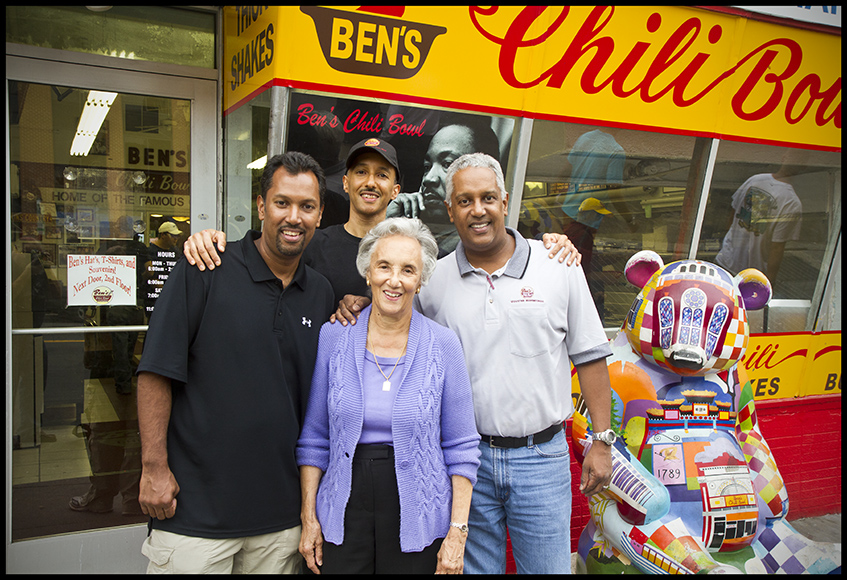 Virginia Ali, the co-founder of Ben's Chill Bowl with her three sons (Photo Credit: AACWM)		   	 Chili Bowl, with her three sons (Photo Credit Ben's Chili Bowl)
