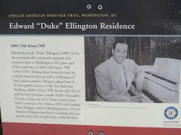 Plaque showing Duke Ellington's Home