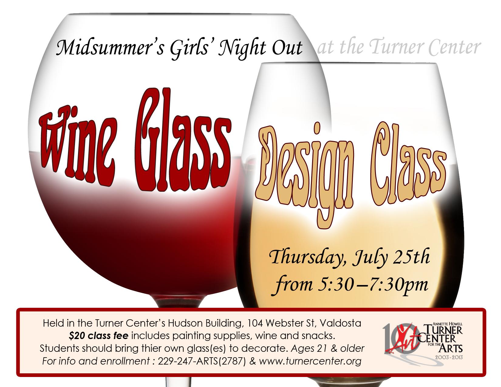 Midsummer's Girls' Night Out Wine Glass Design Class