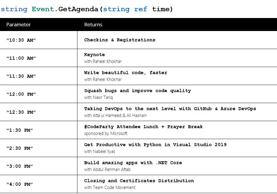 Agenda - Visual Studio 2019 Launch Event Islamabad
