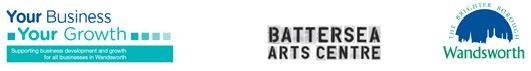 Your Business Your Growth, Wandsworth Council and Battersea Arts Centre logos