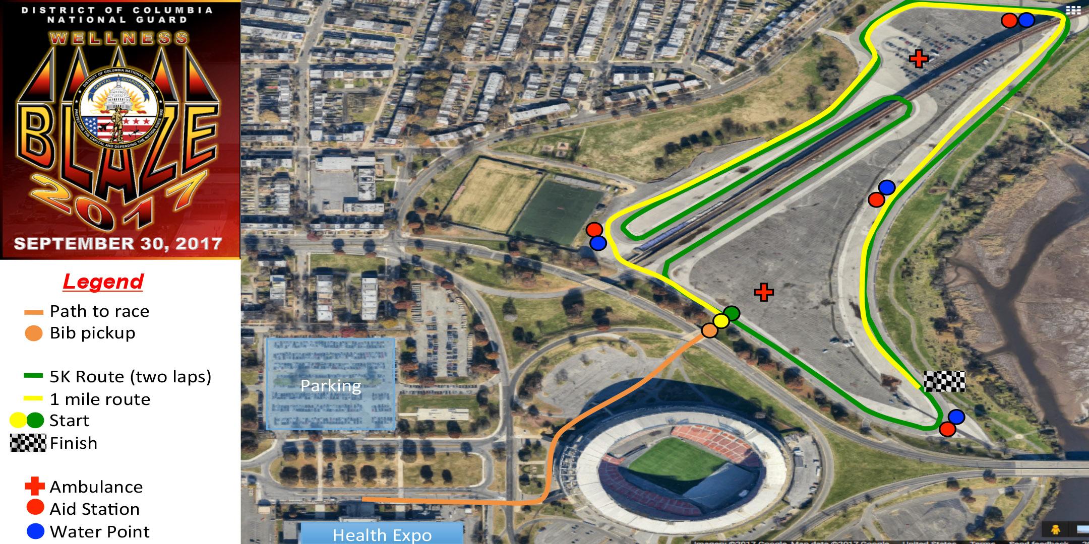 map of Wellness Blaze 5k fun run/walk and health fair route