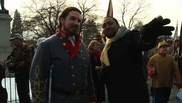 Shukree with Civil War re-enactor