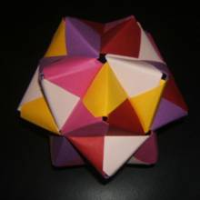 Origami shape with coloured paper