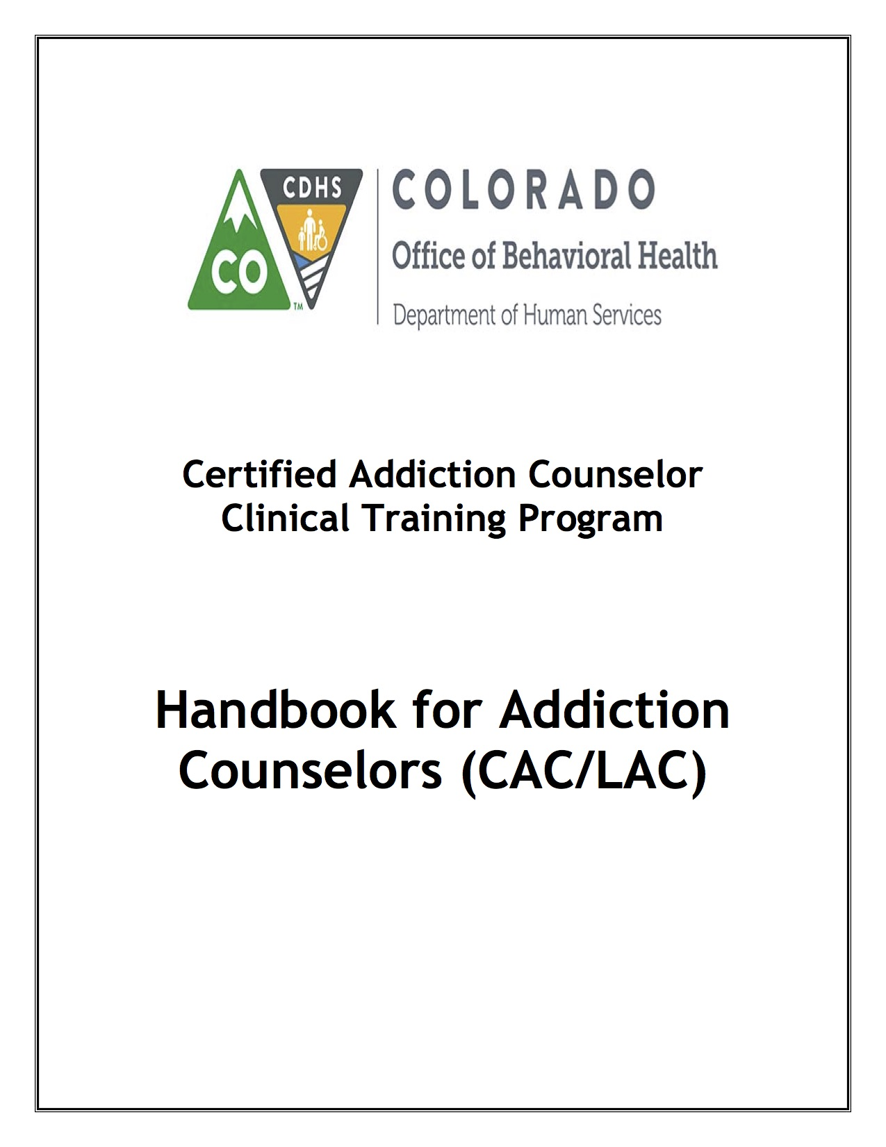 Handbook Cover of OBH Handbook for Addiction Counselors 0715
