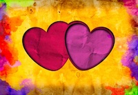 Two Overlapping Hearts on a Colorful Yellow Bakground