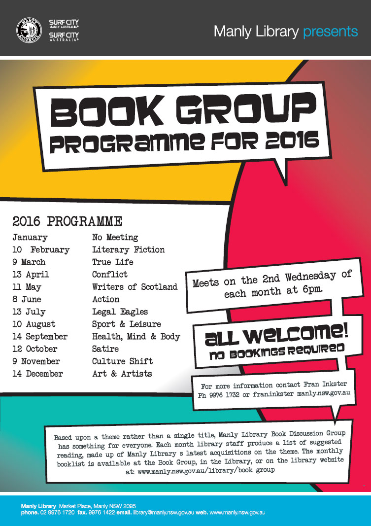 2016 ManlyLibrary Book Group Programme