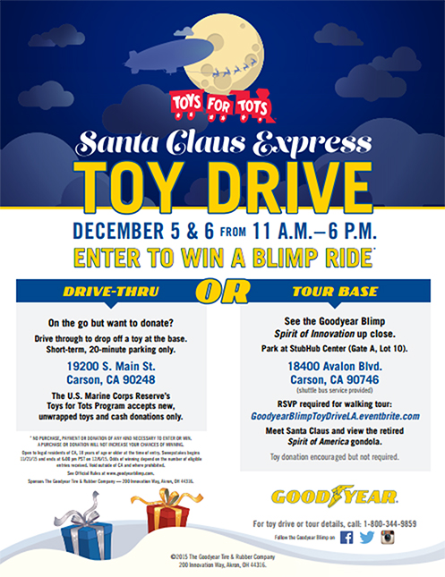 Goodyear Blimp Toys for Tots Santa Claus Express California 2015