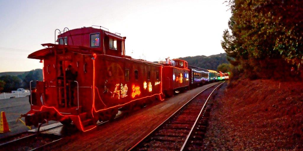Niles Canyon Railway Train of Lights Caboose in Sunol