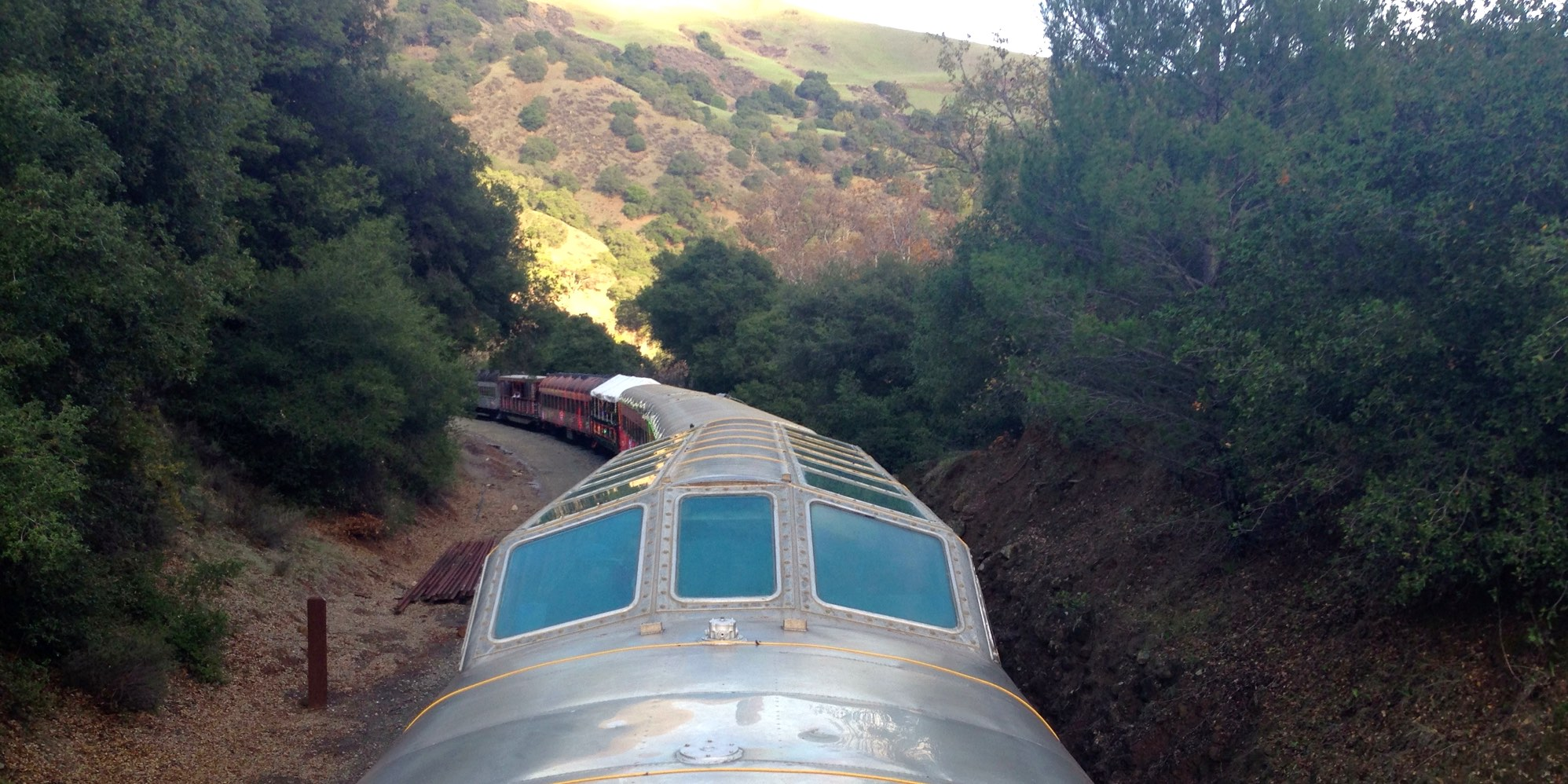 Niles Canyon Train of Lights Dome Car winding through the canyon
