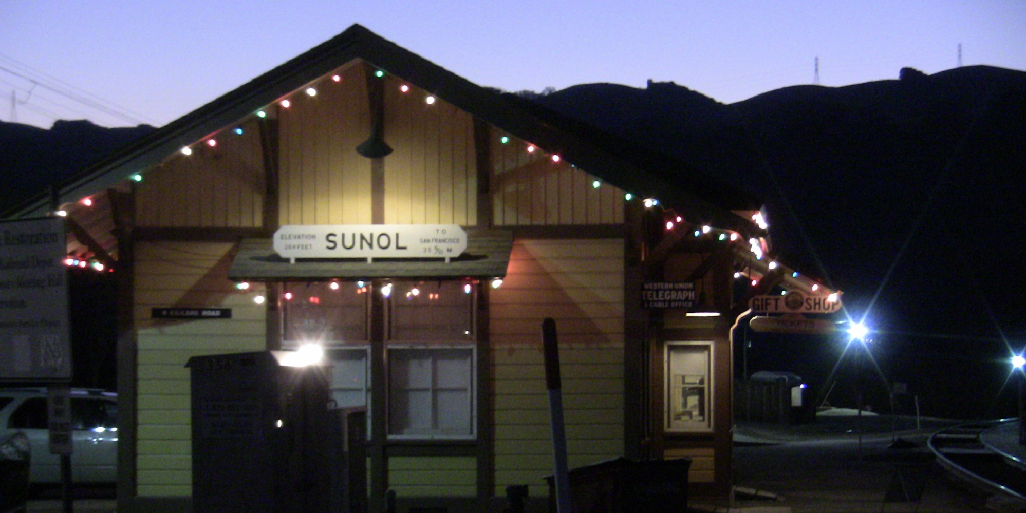 Niles Canyon Sunol Depot at Sunset with Christmas Lights