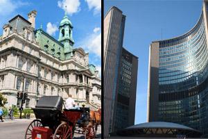 Montreal and Toronto city halls