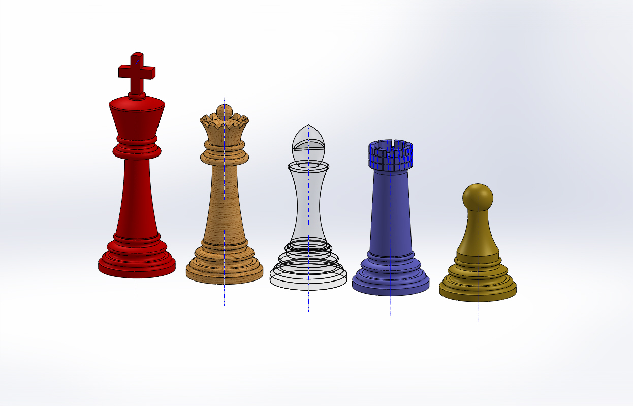 Row of CAD Chess Pieces
