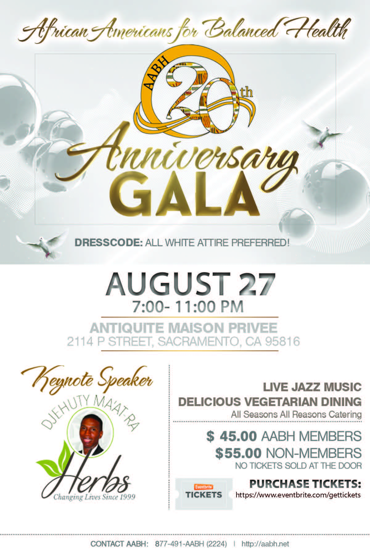Aabh 20th anniversary gala dinner tickets sat aug 27 for Antiquite maison privee sacramento ca