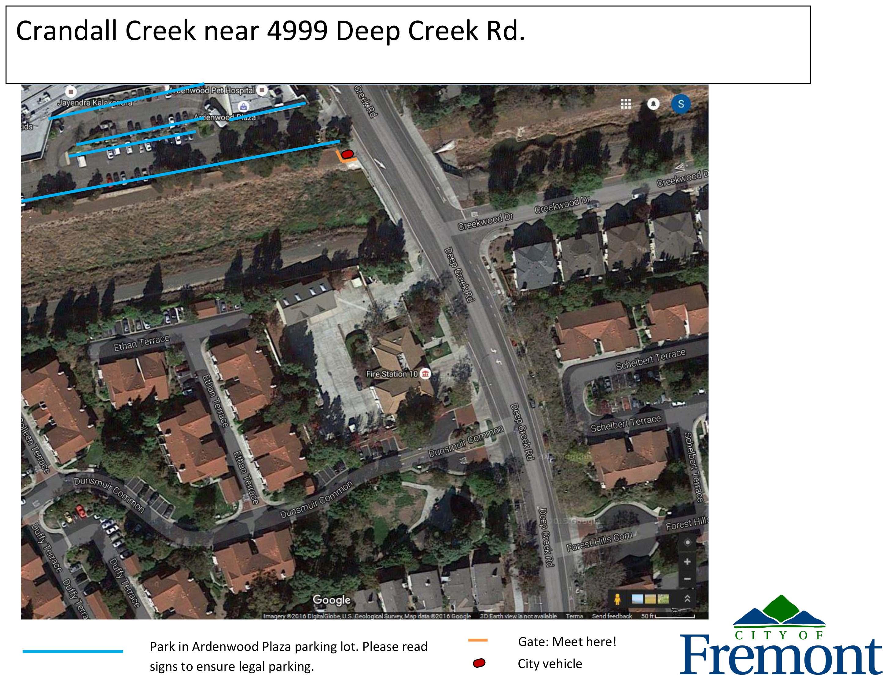 Map of Crandall Creek Hot Spot location, near 5001 Deep Creek Rd.