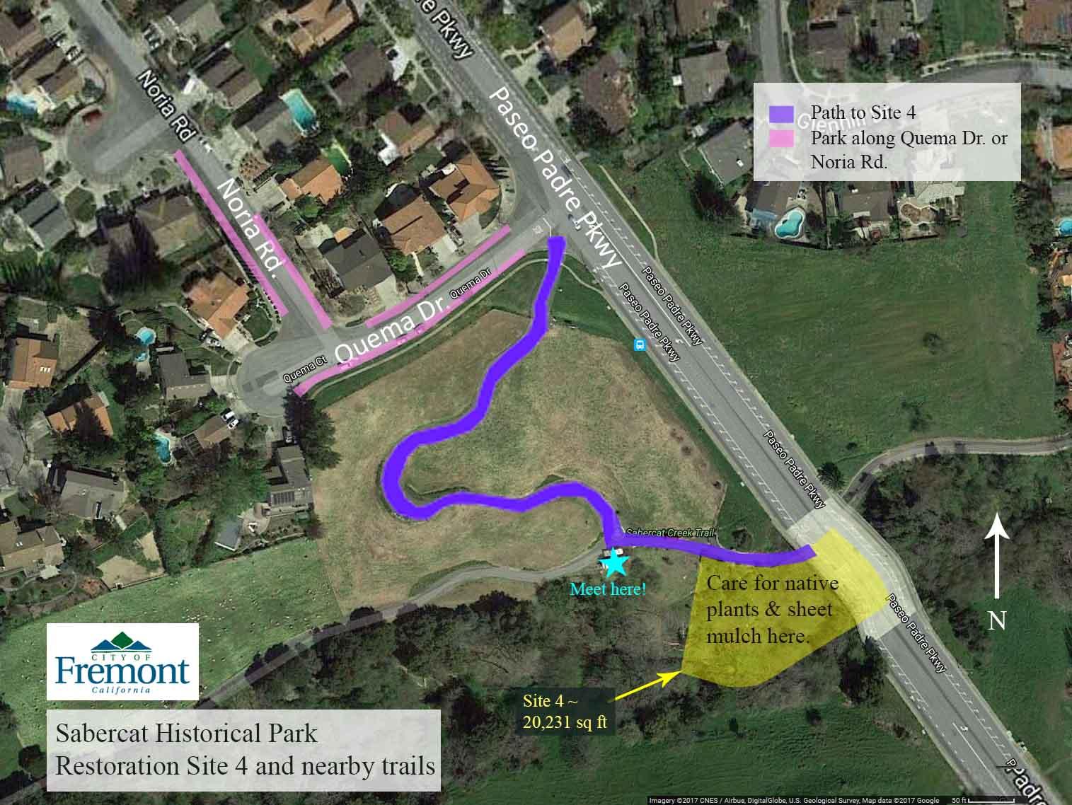 Map showing Sabercat Historical Park Restoration Site 4, surrounding trails, and parking