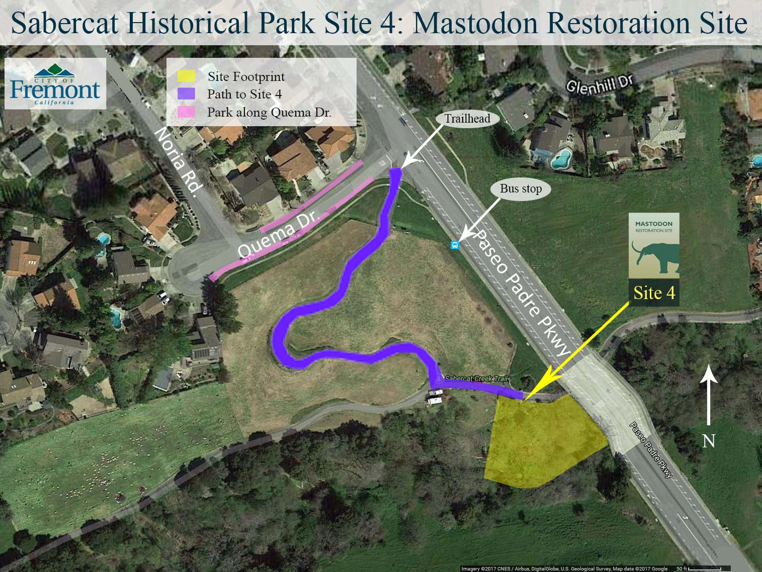 Site 4 Mastodon Restoration Site, Sabercat Historical Park nearby parking and trails