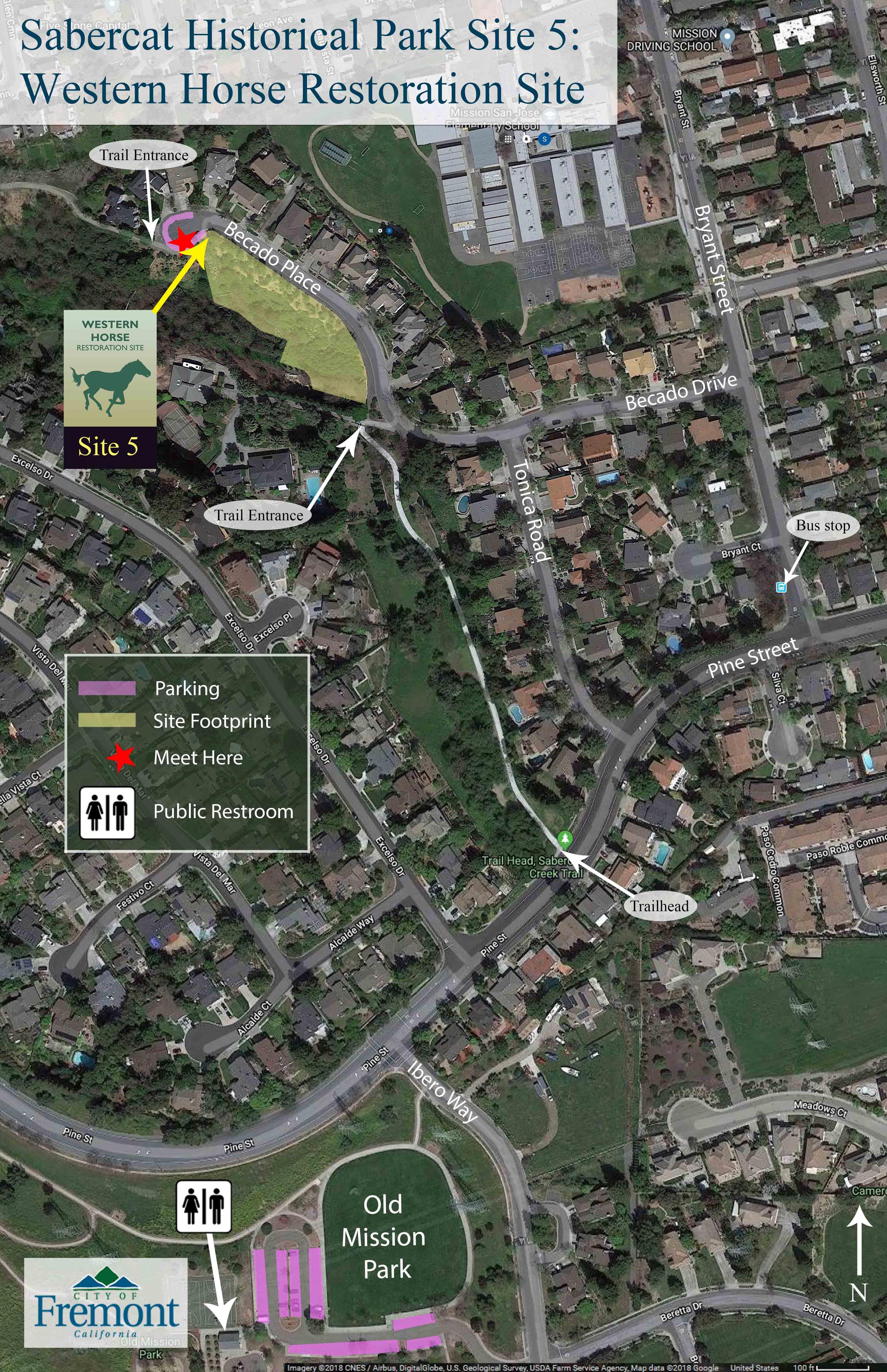 Sabercat s5 map, Meet at cul-de-sac end of Becado Place
