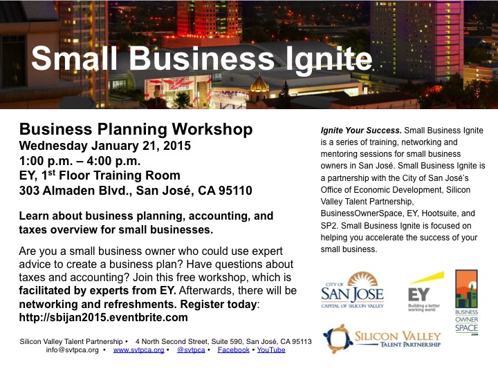 Small Business Ignite - Business Planning Workshop Jan 21, 2015