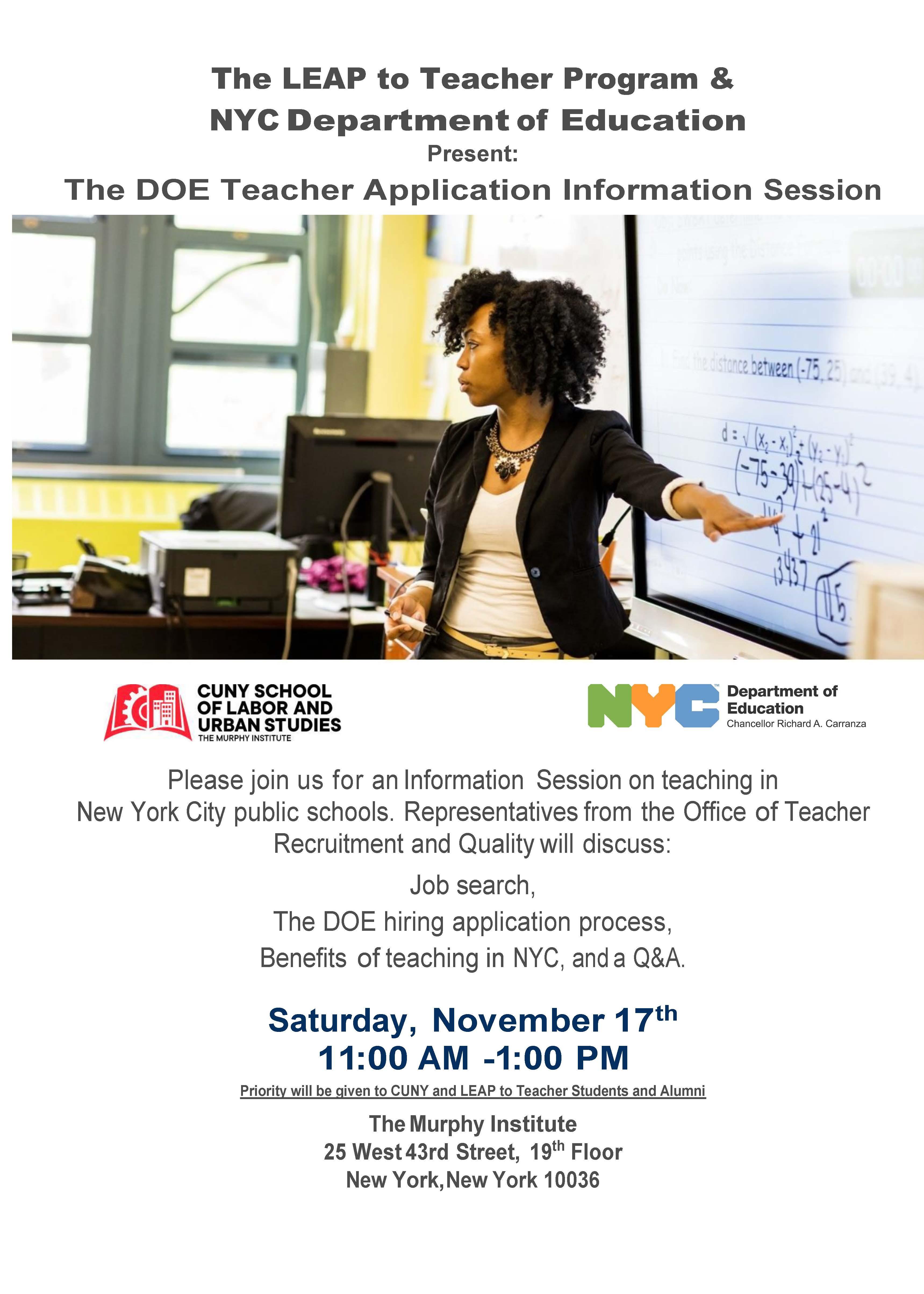 DOE Teacher Application Information Session - 17 NOV 2018