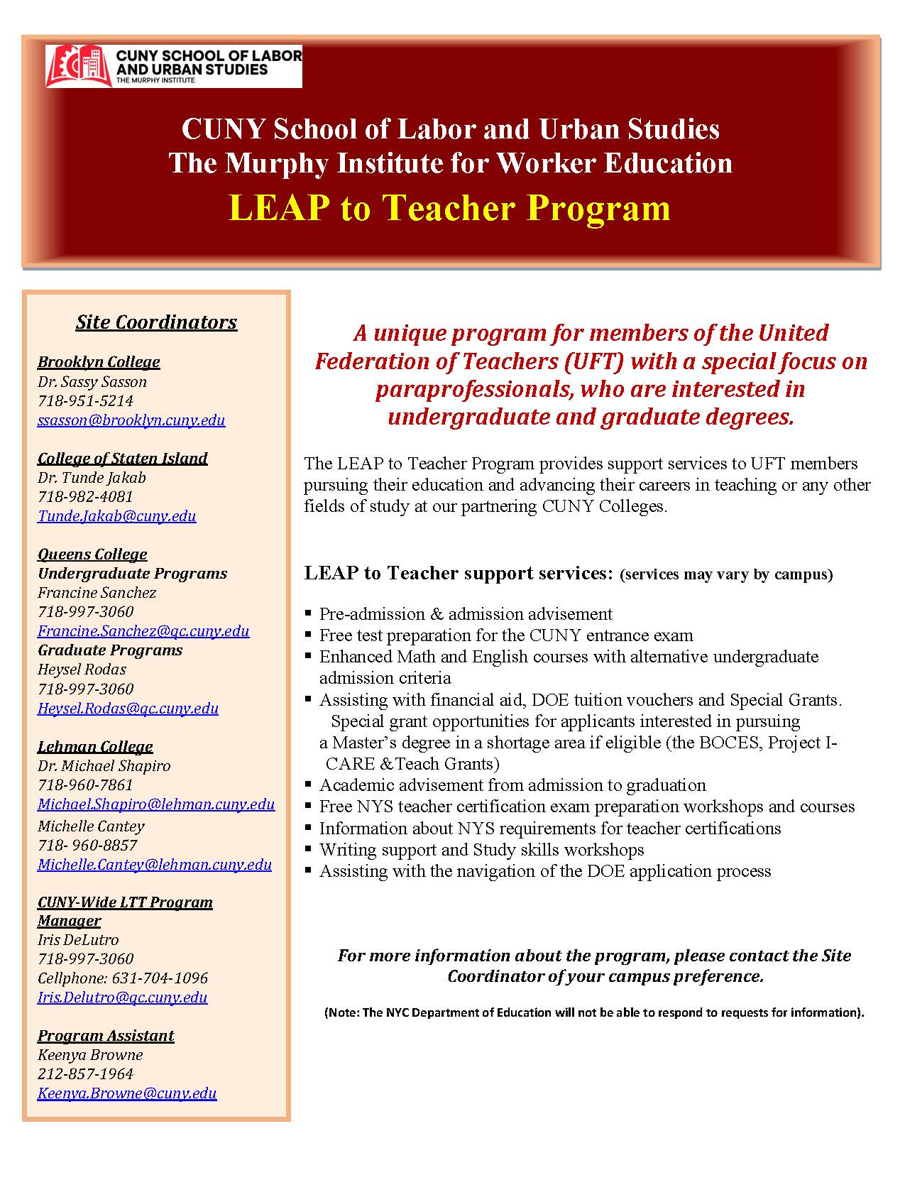 Fall 2018 Open House The Murphy Institute Leap To Teacher And