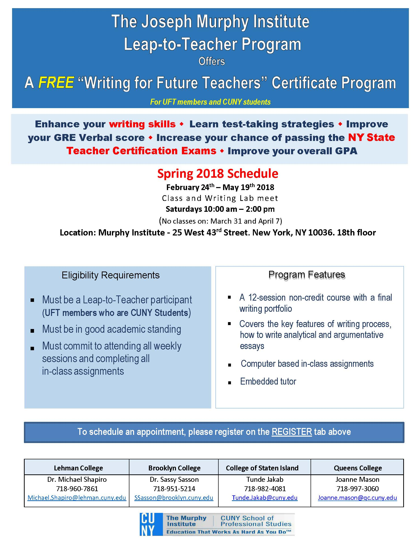Writing for future teachers certificate program ltt members only open to leap to teacher students only 1betcityfo Image collections