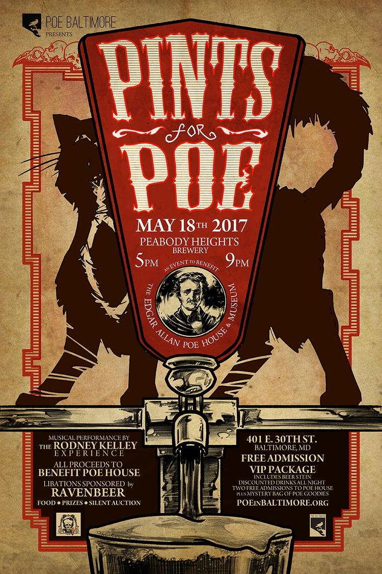 Pints for Poe benefit poster, by artist Jason Strutz