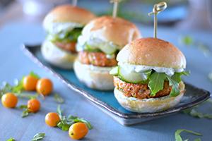 Salmon Sliders & Cucumber Mustard Sauce