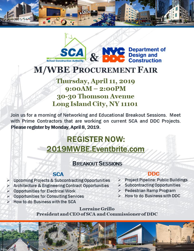 SCA & DDC M/WBE Procurement Fair - 11 APR 2019