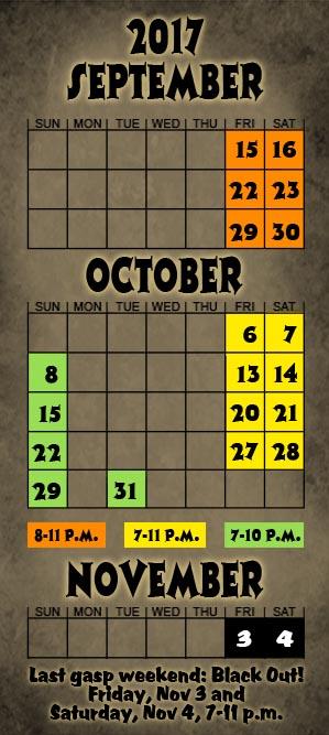 2017 Niles Scream Park Calendar