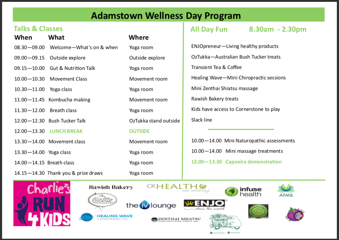 Adamstown Wellness Day Time Table