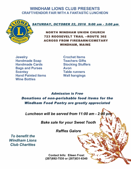 Windham Lions Club Craft Fair Flyer