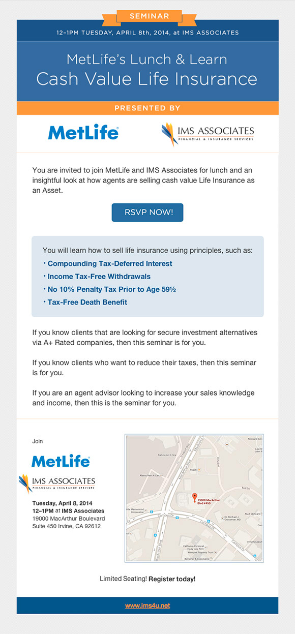 MetLife and IMS Associates present a Lunch & Learn on Cash Value Life Insurance.