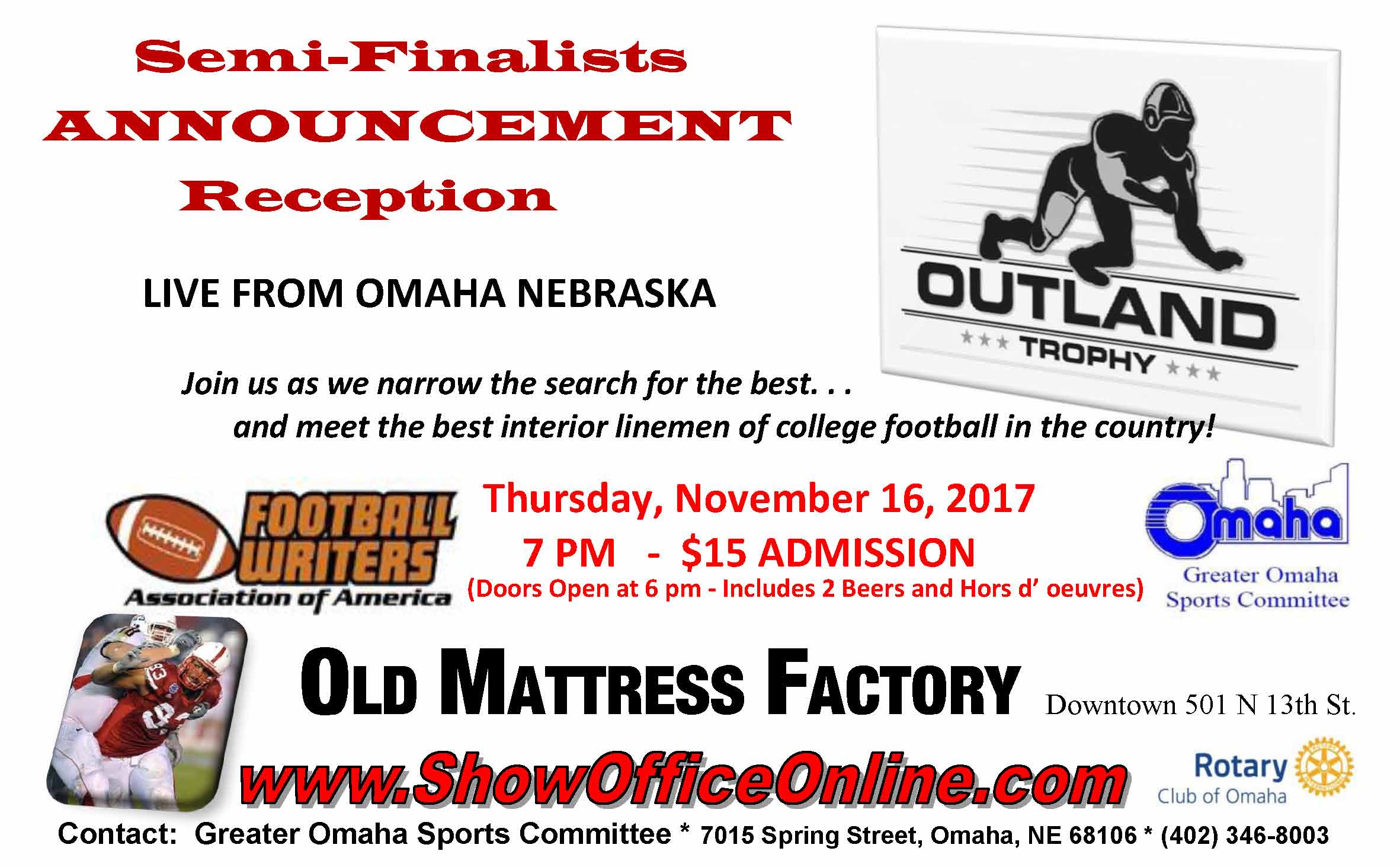 Outland Trophy Semi Finalist Announcement Reception