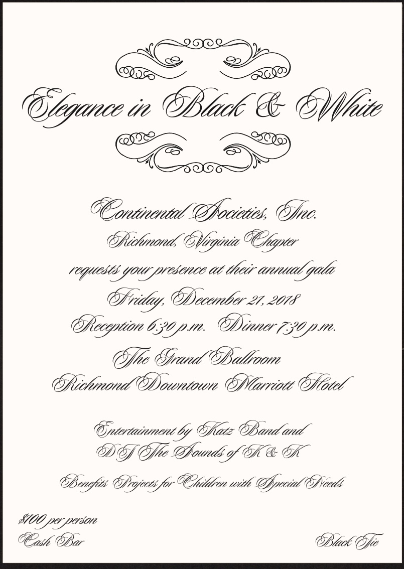 Elegance in Black and White Continental Societies Inc