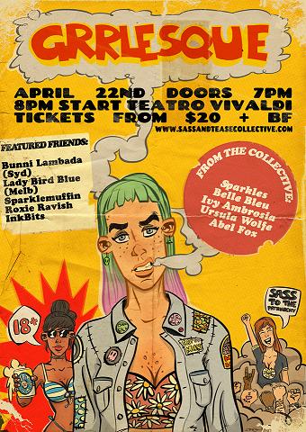 GRRLesque poster.  Illustration and design by Wet Yeti