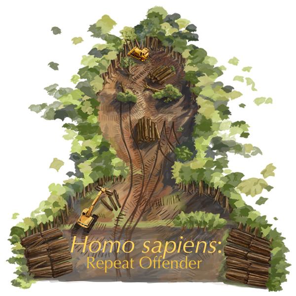 Homo sapiens: Repeat Offender illustration by Derek Tan