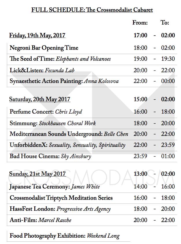 Full Cabaret Schedule