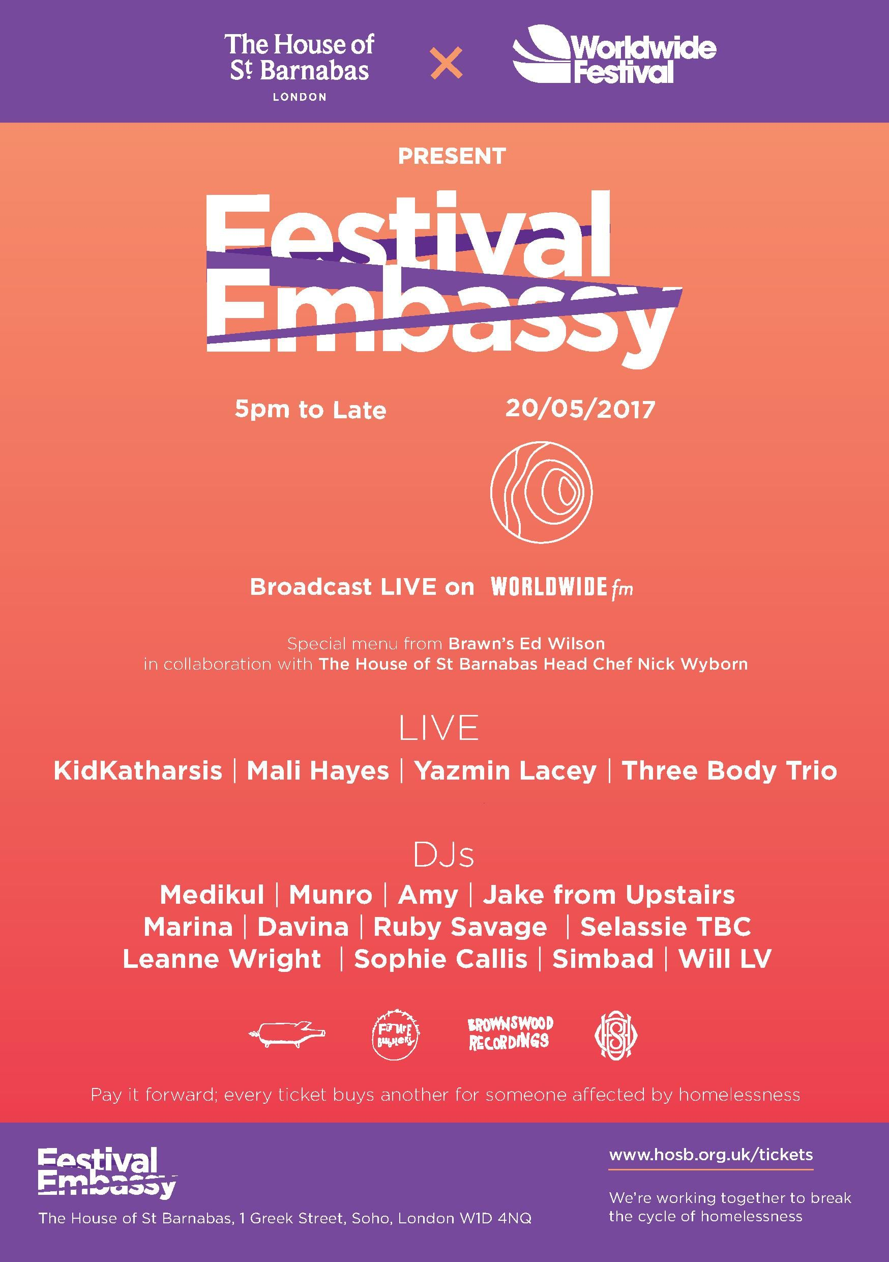 Poster for the Festival Embassy event with Worldwide Festival. Includes line up (also listed above in the copy)