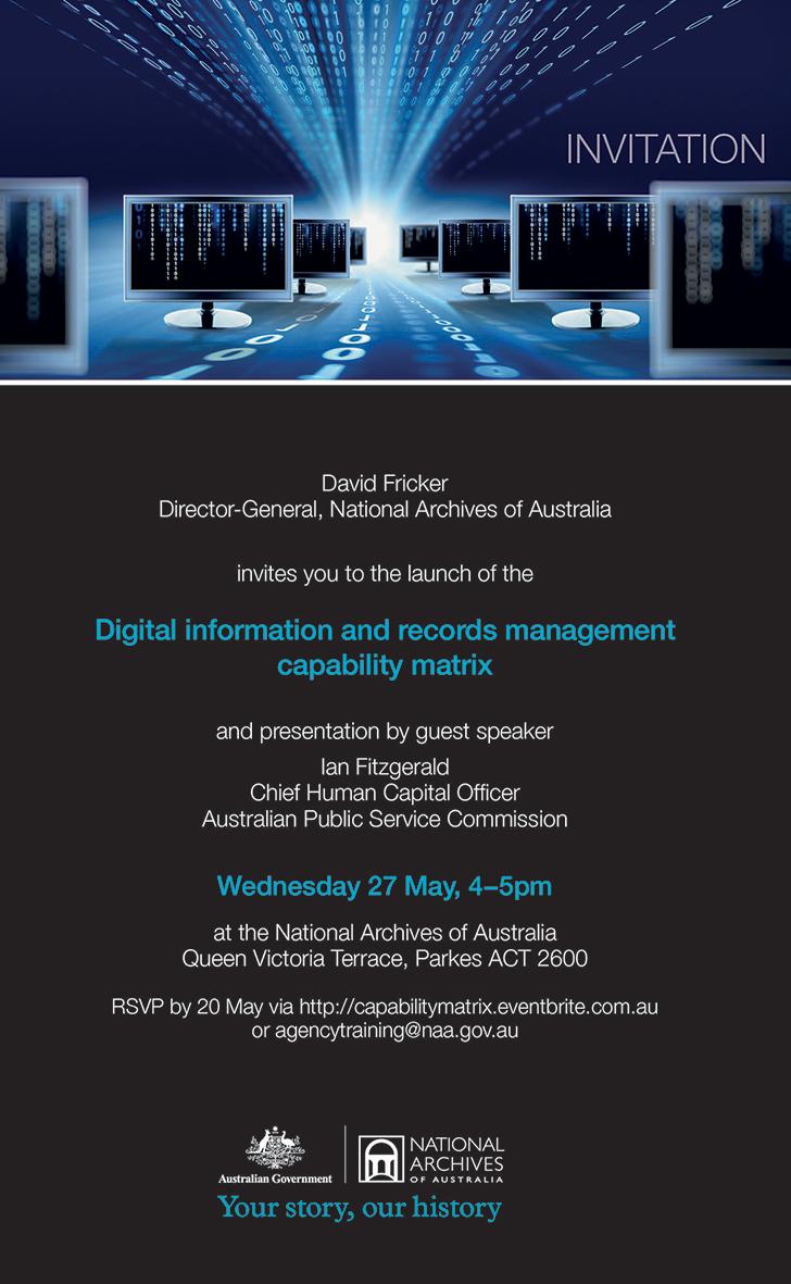 Invitation - Digital information and records management capability matrix launch invite