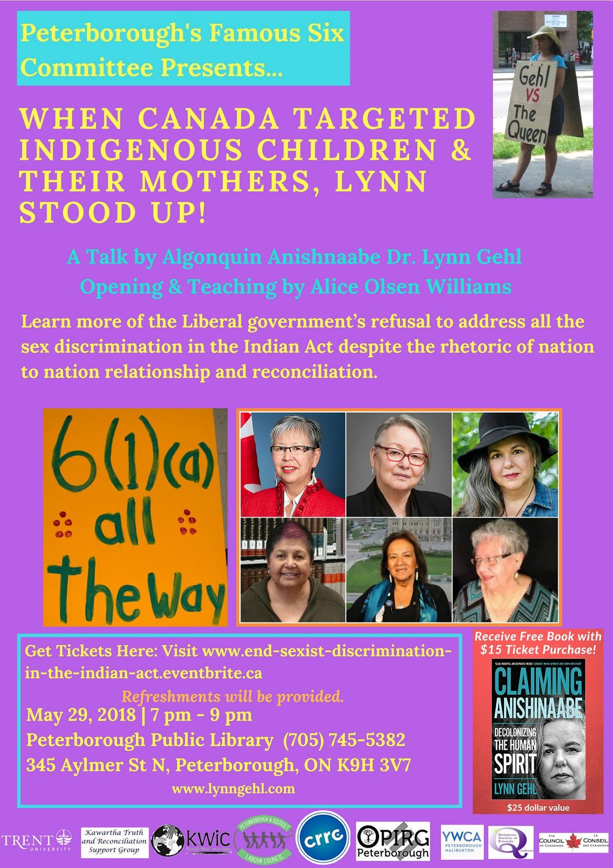 Honouring Algonquin Anishinaabe Dr. Lynn Gehl Event Poster