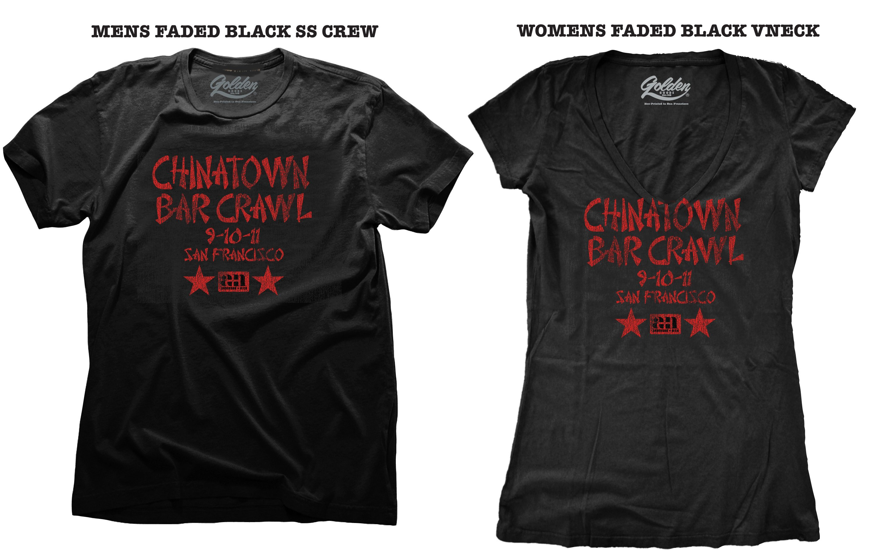 China Town Bar Crawl / American Apparel T-Shirts / Made by Golden Goods