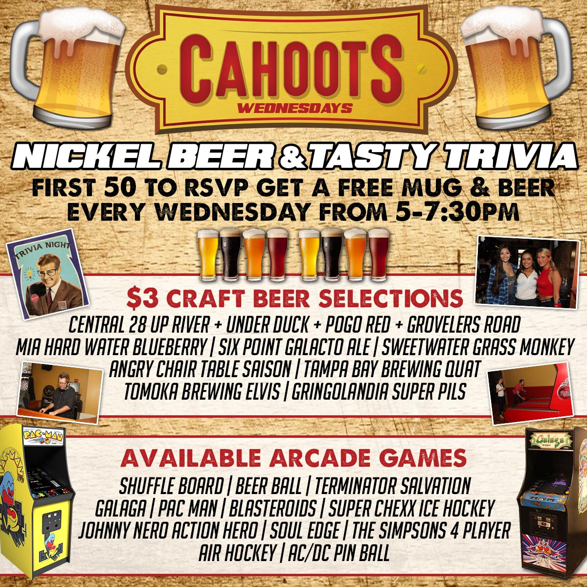 Cahoots Nickel Beer & Tasty Trivia