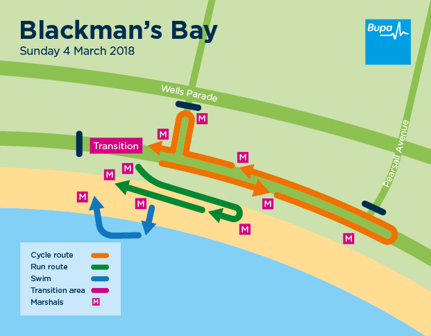 Blackmans Bay course map